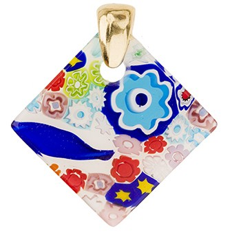 Fused Murano Glass Pendant Multi Transparent Diamond