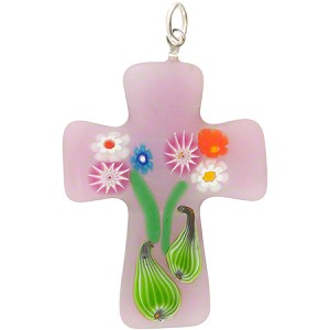 Pink Transparent Bouquet Cross, Murano Glass Pendant