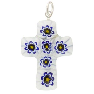 White, Blue Daisies Millefiori Cross Medium, Murano Glass Pendant