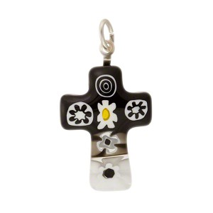Black, White Millefiori Mini Cross, Murano Glass Pendant