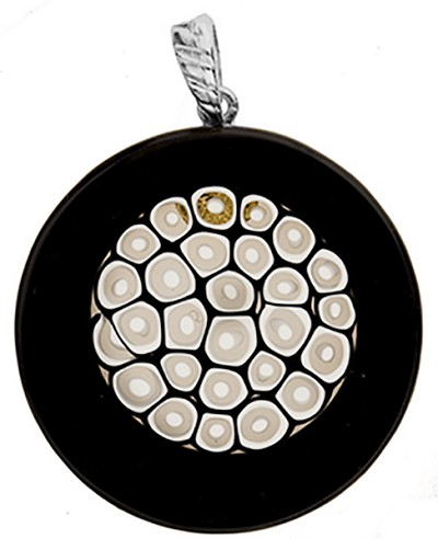 Fused Murano Glass Pendant Black Border White Center Round 40mm