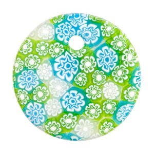 Fused Murano Glass Curved Round Pendant 40mm Aqua Green White Lace Flowers