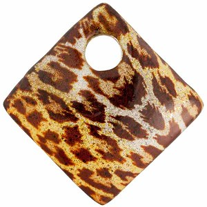 Venetian Glass Fused Sparkle Diamond Pendant 30mm Leopard Topaz