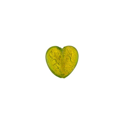 Peridot Green 24kt Gold Foil Heart 8mm Murano Glass Bead
