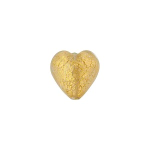 Clear 24kt Gold Foil Hearts 10mm Murano Glass Bead