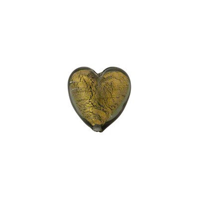 Olivine 24kt Gold Foil Hearts 10mm Murano Glass Bead