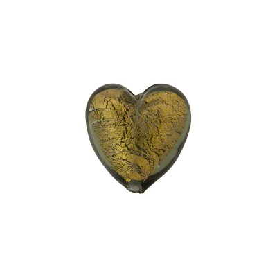 Olivine Gold Foil 12mm Heart Murano Glass Bead