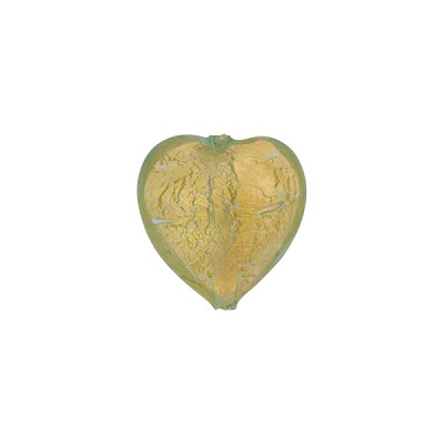 Aquamarine Gold Foil 12mm Heart Murano Glass Bead