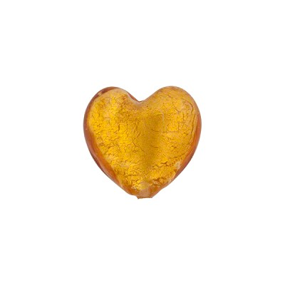 Light Topaz Gold Foil 12mm Heart Murano Glass Bead