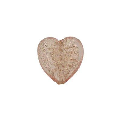 Pink White Gold Heart 12mm Venetian Glass Bead