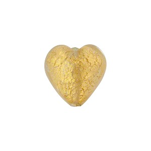 Clear Gold Foil Heart 14mm Murano Glass Bead