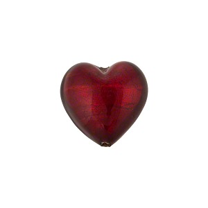 Ruby Red Gold Foil Heart 14mm Murano Glass Bead