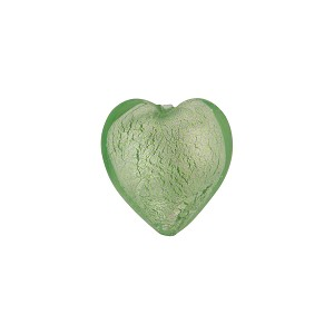 Light Peridot White Gold Murano Glass Heart 14mm