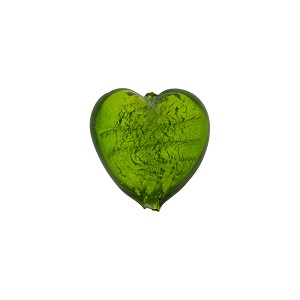 Light Emerald White Gold Murano Glass Heart 14mm