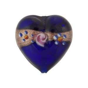 Cobalt Fiorato Heart Aventurina Band 20mm Murano Glass Bead