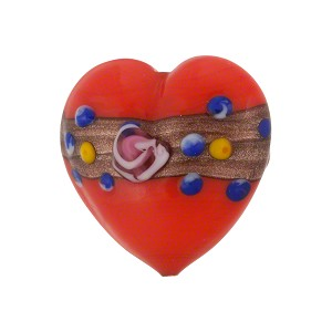 Red Fiorato Heart Aventurina Band 20mm Murano Glass Bead