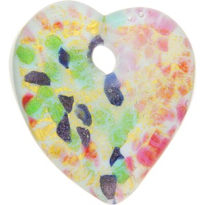 Lampwork Murano Glass Flat Heart Pendant, 45mm