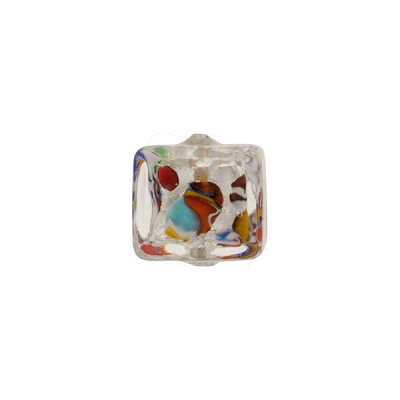 Murano Glass Bead Klimt Cube, 10mm Silver Foil