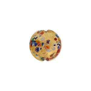Klimt Inspired Murano Glass Bead in a 14mm Disc, 24kt Gold Foil