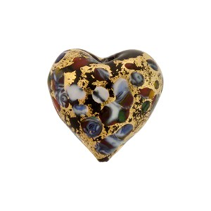 Exterior Gold Foil Multi KLIMT Heart 16mm Black Murano Glass Bead