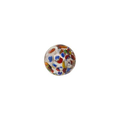 Klimt Inspired Murano Glass Silver Foil Round Bead, 8mm, Multi-Colored