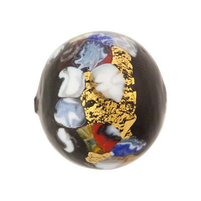 Black Multi Textured KLIMT Gold Foil Round 20mm Venetian Bead