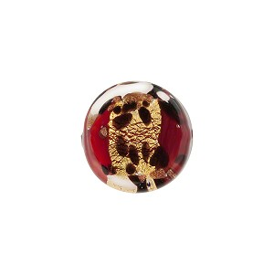 Red Leopard Print Gold Foil Coin 14mm, Murano Glass Bead