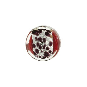 Red Chocolate Leopard Print Silver Foil Coin 14mm, Murano Glass Bead