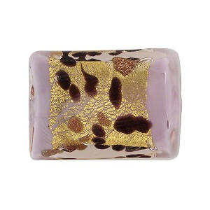Lilac La Crima Rectangle Gold Band 22x16mm, Murano Glass Bead
