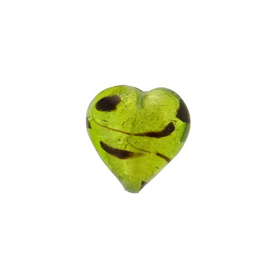 Venetian Beads LaCrima Hearts White Gold 12mm Peridot