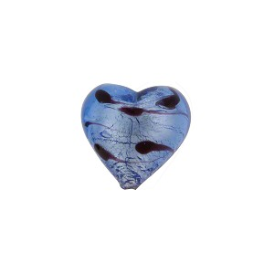 Venetian Beads LaCrima Hearts White Gold 12mm Blue