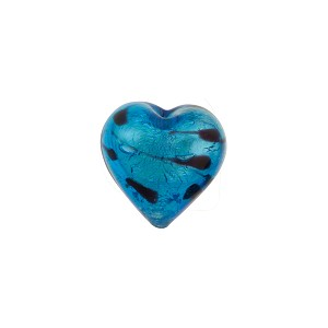 Venetian Beads LaCrima Hearts White Gold 12mm Aqua
