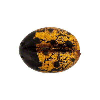 Light Topaz Gold Foil Piccola Lady Bug Murano Glass 18mm
