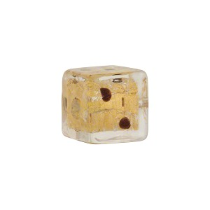CLear/Chocolate Dots Leopard Cube Gold Foil 14mm, Murano Glass Bead