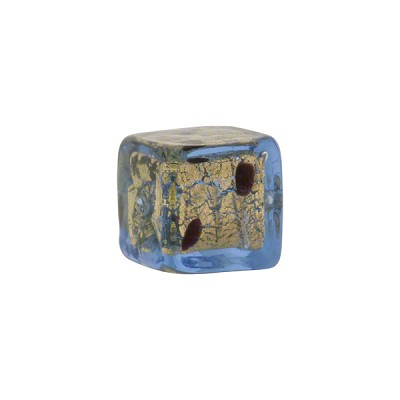 Bluino/Black Dots Leopard Cube Gold Foil 14mm Murano Glass Bead