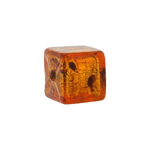 Topaz/Black Dots Leopard Cube Gold Foil 14mm