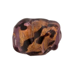 Leopard Pebble Bead 20mm Amethyst Gold Foil, Murano Glass Bead