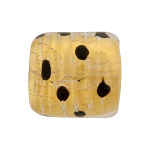 Murano Glass Bead Leopard Rectangle 18mm Gold Foil Clear Black