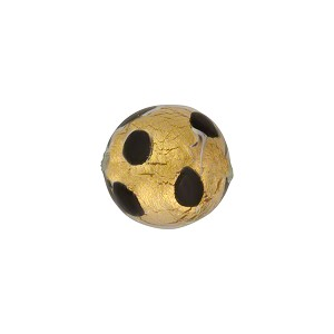 Chocolate Leopard 12mm Round Gold Foil Murano Glass Bead