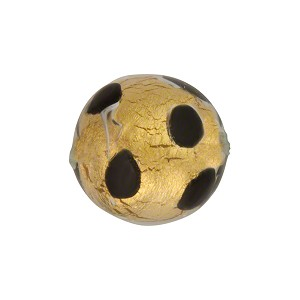 Chocolate Leopard 16mm Round Gold Foil Murano Glass Bead