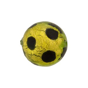 Green Leopard 16mm Round Murano Glass Gold Foil Bead