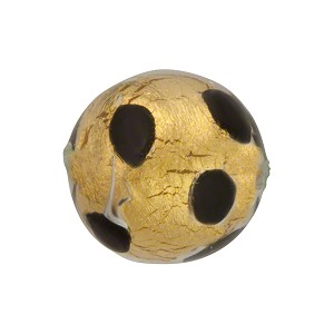 Chocolate Leopard 18mm Round Gold Foil Murano Glass Bead