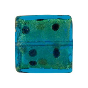 Leopard Squares 20mm Aqua Black Dots, Murano Glass Bead