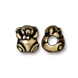 Brass Oxidized Plated Pewter Large Hole Bear Euro Bead