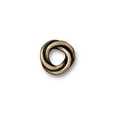Brass Oxidized Plated Pewter Large Holed Twisted Spacer Euro Bead