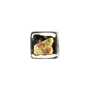 Black Gold, Silver Aventurina Luna Cube 10mm, Venetian Glass Bead