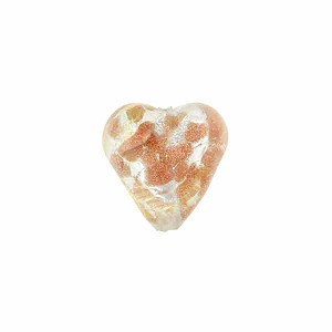 Crystal Luna Hearts 12mm Gold/Silver, Murano Glass Bead