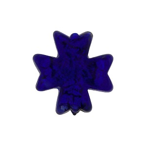 Gold Foil Cross Venetian Bead Cobalt, Murano Glass Bead