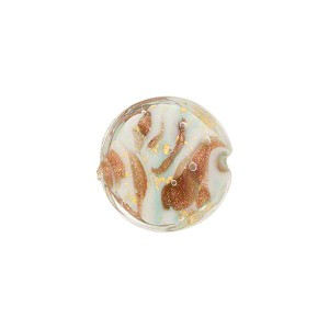 Turquoise Marbled Murano Glass Disc, Gold Foil, 14mm