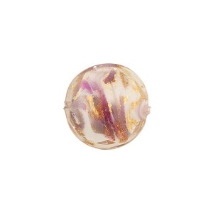 Viola Marbled Murano Glass Disc, Gold Foil, 14mm